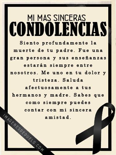 Tarjetas de condolencias por la muerte de un padre